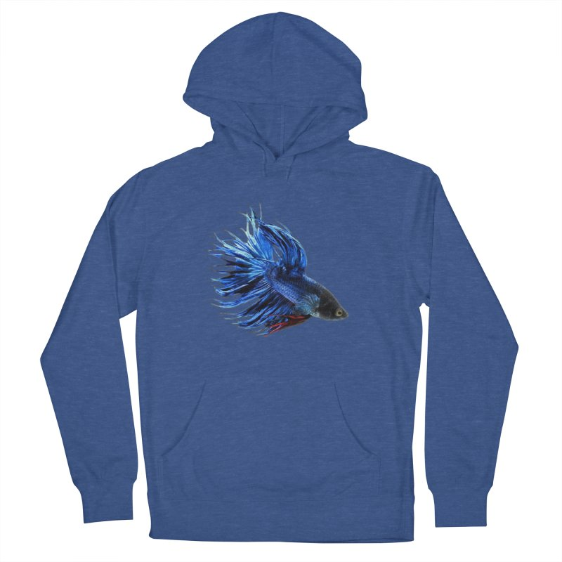 Royal Blue and Red Betta Fish Crowntail Male Swimming Beautiful Colors Men's French Terry Pullover Hoody by Fringe Walkers Shirts n Prints