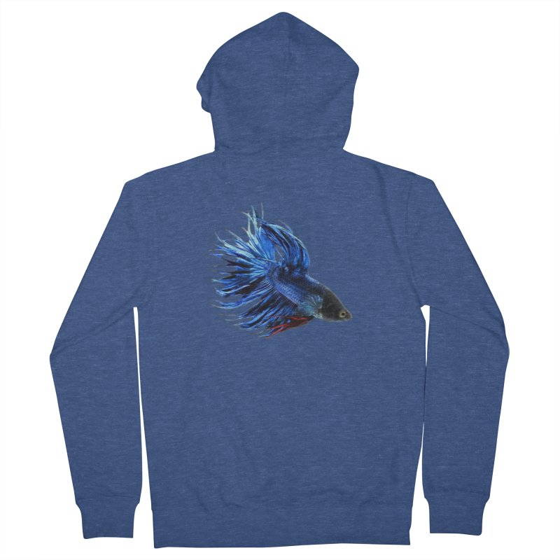 Royal Blue and Red Betta Fish Crowntail Male Swimming Beautiful Colors Women's Zip-Up Hoody by Fringe Walkers Shirts n Prints