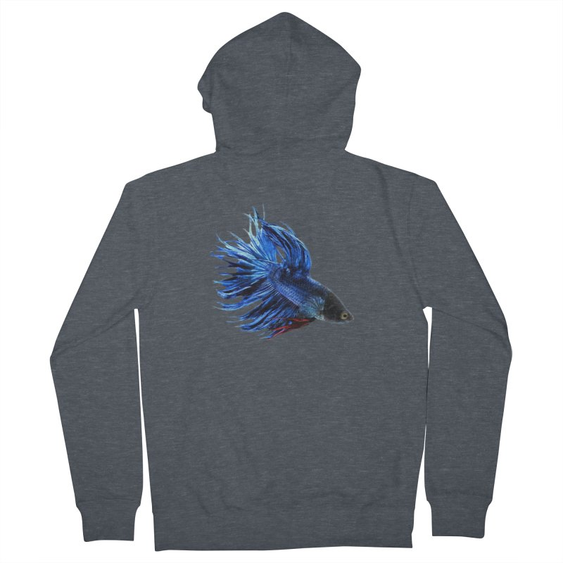 Royal Blue and Red Betta Fish Crowntail Male Swimming Beautiful Colors Women's French Terry Zip-Up Hoody by Fringe Walkers Shirts n Prints