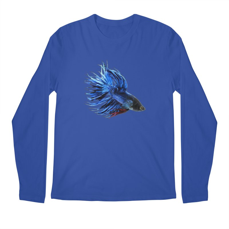 Royal Blue and Red Betta Fish Crowntail Male Swimming Beautiful Colors Men's Regular Longsleeve T-Shirt by Fringe Walkers Shirts n Prints