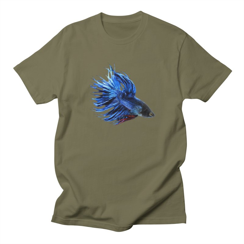 Royal Blue and Red Betta Fish Crowntail Male Swimming Beautiful Colors Men's Regular T-Shirt by Fringe Walkers Shirts n Prints