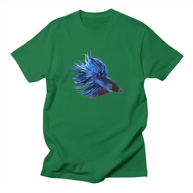 Royal Blue and Red Betta Fish Crowntail Male Swimming Beautiful Colors Men's T-Shirt by Fringe Walkers Shirts n Prints