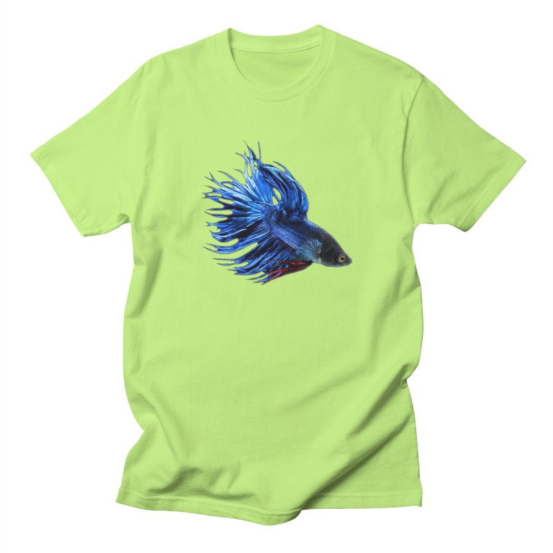 Royal Blue and Red Betta Fish Crowntail Male Swimming Beautiful Colors Women's Regular Unisex T-Shirt by Fringe Walkers Shirts n Prints