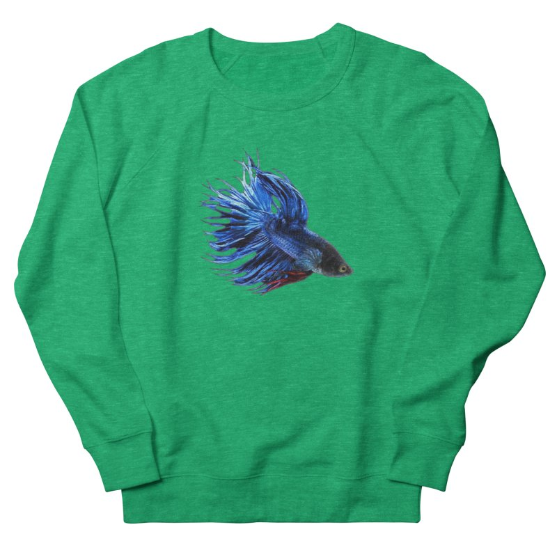 Royal Blue and Red Betta Fish Crowntail Male Swimming Beautiful Colors Women's French Terry Sweatshirt by Fringe Walkers Shirts n Prints