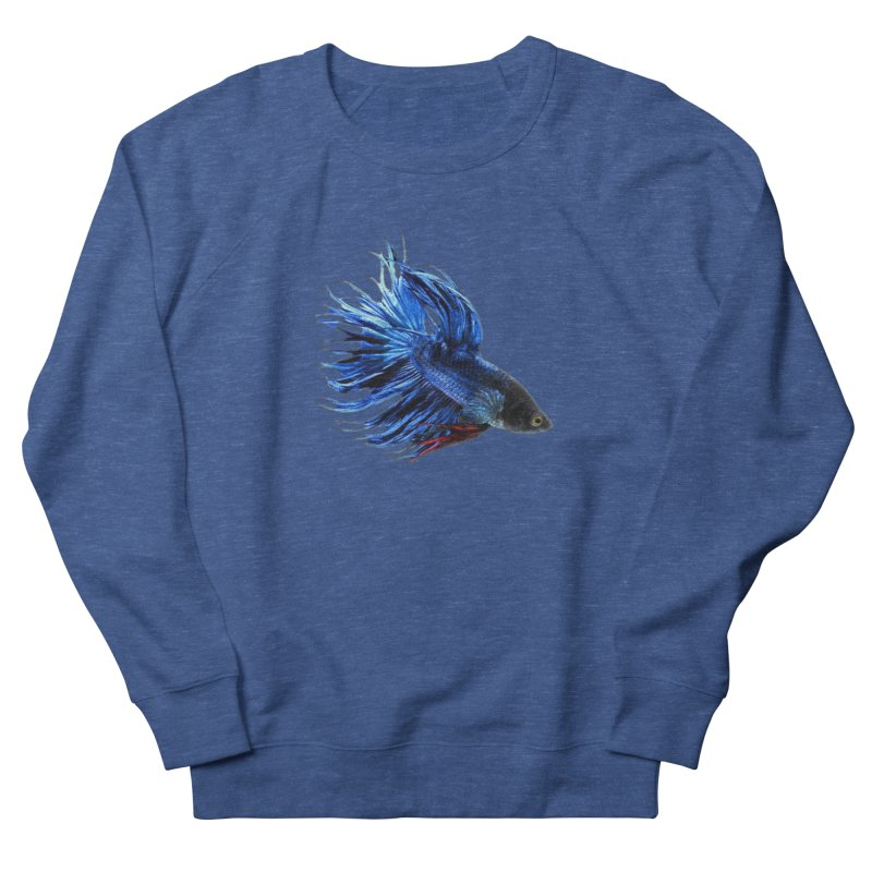 Royal Blue and Red Betta Fish Crowntail Male Swimming Beautiful Colors Women's Sweatshirt by Fringe Walkers Shirts n Prints