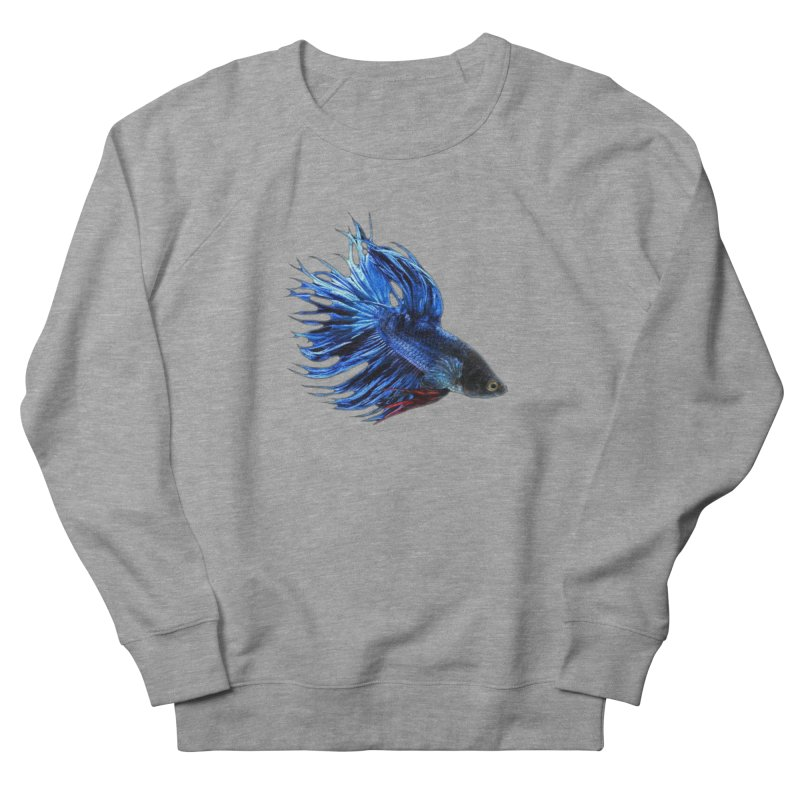 Royal Blue and Red Betta Fish Crowntail Male Swimming Beautiful Colors Men's Sweatshirt by Fringe Walkers Shirts n Prints