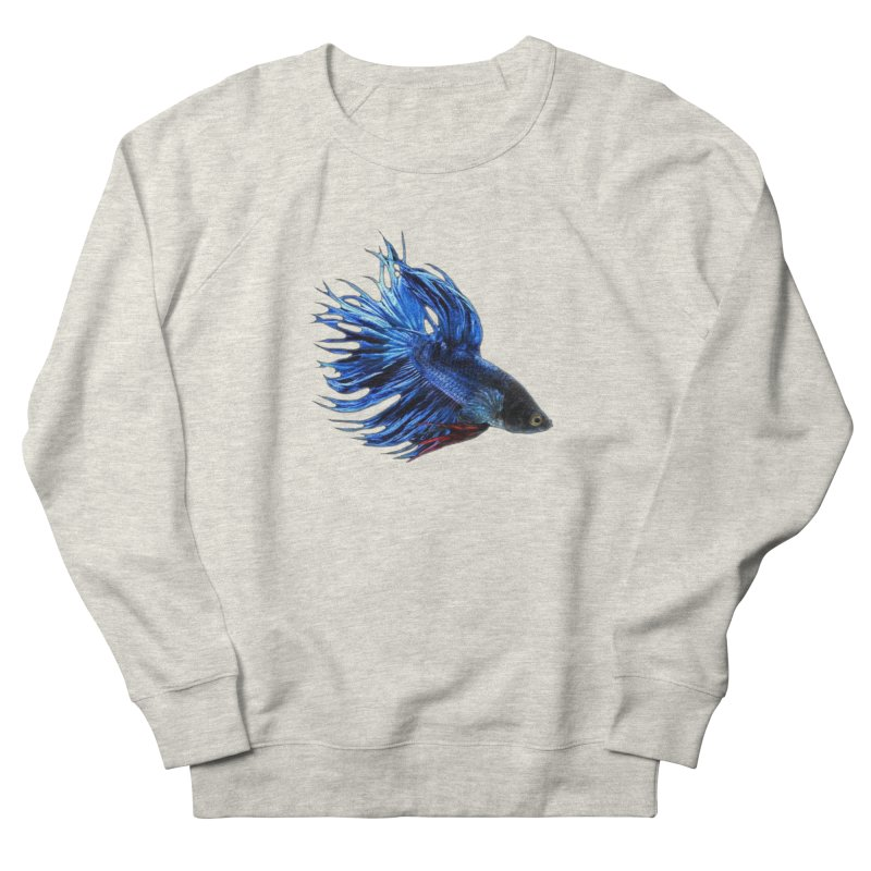 Royal Blue and Red Betta Fish Crowntail Male Swimming Beautiful Colors Men's French Terry Sweatshirt by Fringe Walkers Shirts n Prints