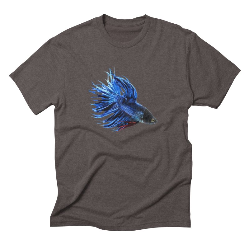 Royal Blue and Red Betta Fish Crowntail Male Swimming Beautiful Colors Men's Triblend T-Shirt by Fringe Walkers Shirts n Prints