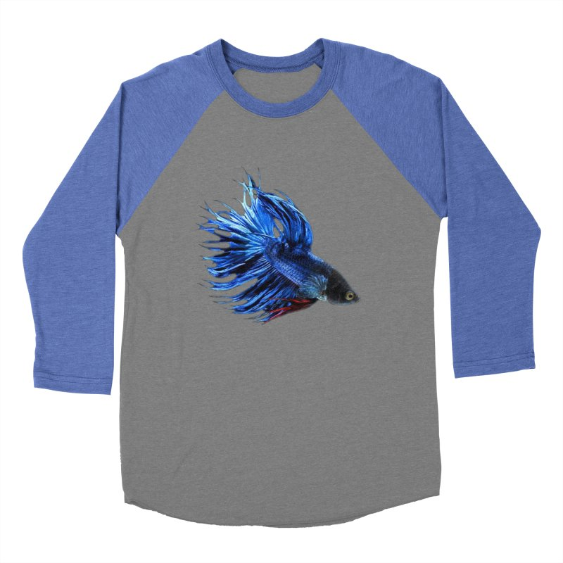 Royal Blue and Red Betta Fish Crowntail Male Swimming Beautiful Colors Women's Baseball Triblend Longsleeve T-Shirt by Fringe Walkers Shirts n Prints