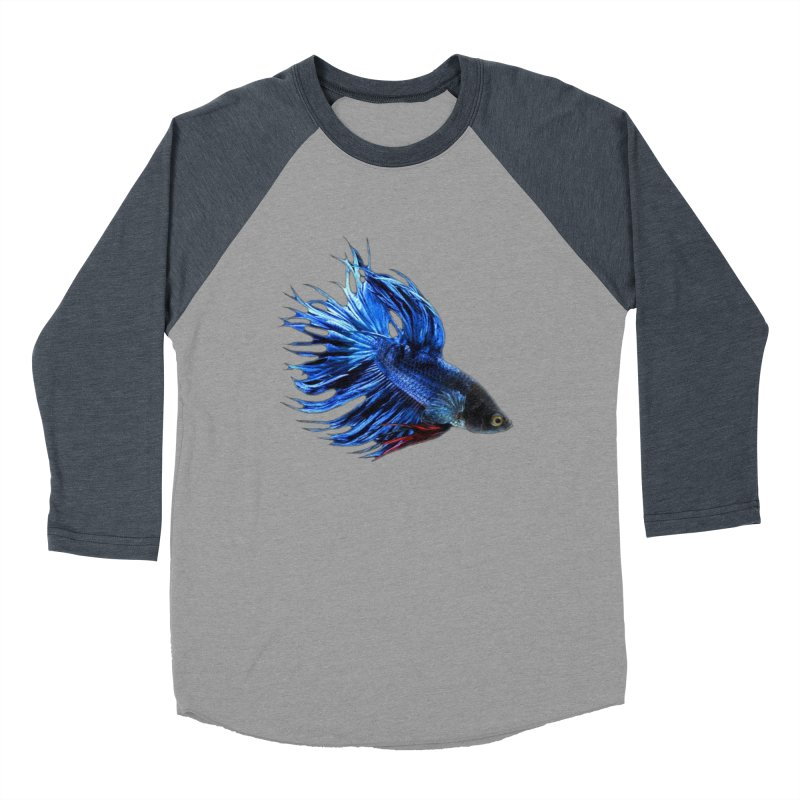 Royal Blue and Red Betta Fish Crowntail Male Swimming Beautiful Colors Men's Baseball Triblend T-Shirt by Fringe Walkers Shirts n Prints