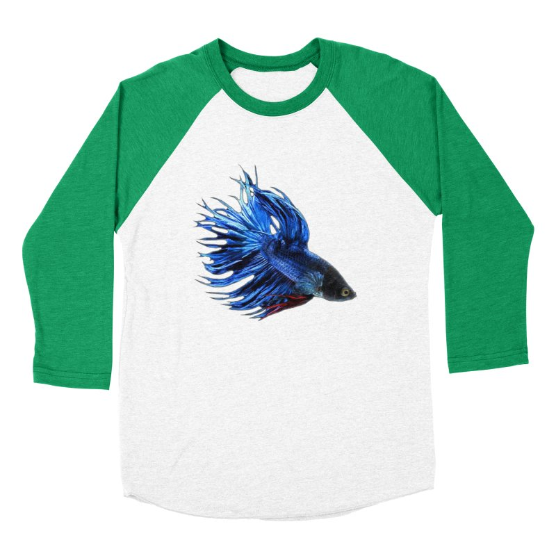 Royal Blue and Red Betta Fish Crowntail Male Swimming Beautiful Colors Men's Baseball Triblend Longsleeve T-Shirt by Fringe Walkers Shirts n Prints