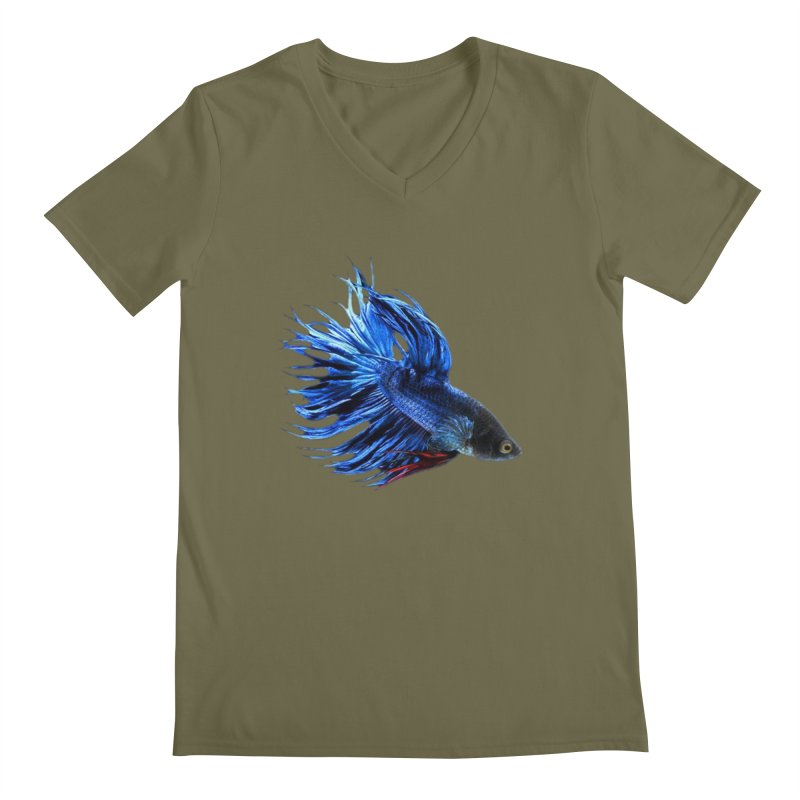 Royal Blue and Red Betta Fish Crowntail Male Swimming Beautiful Colors Men's V-Neck by Fringe Walkers Shirts n Prints