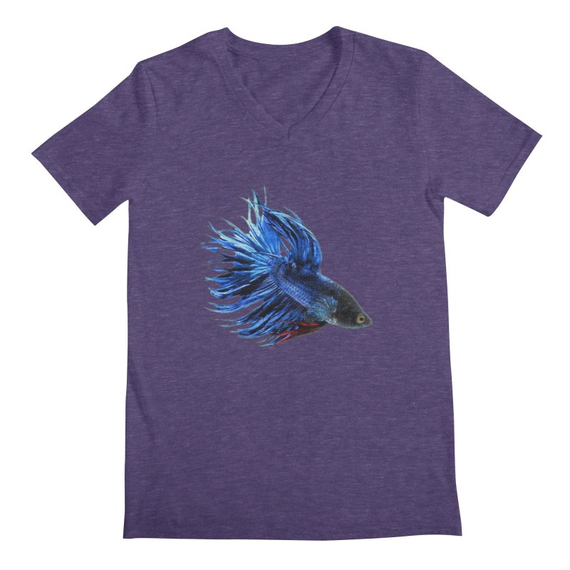 Royal Blue and Red Betta Fish Crowntail Male Swimming Beautiful Colors Men's Regular V-Neck by Fringe Walkers Shirts n Prints