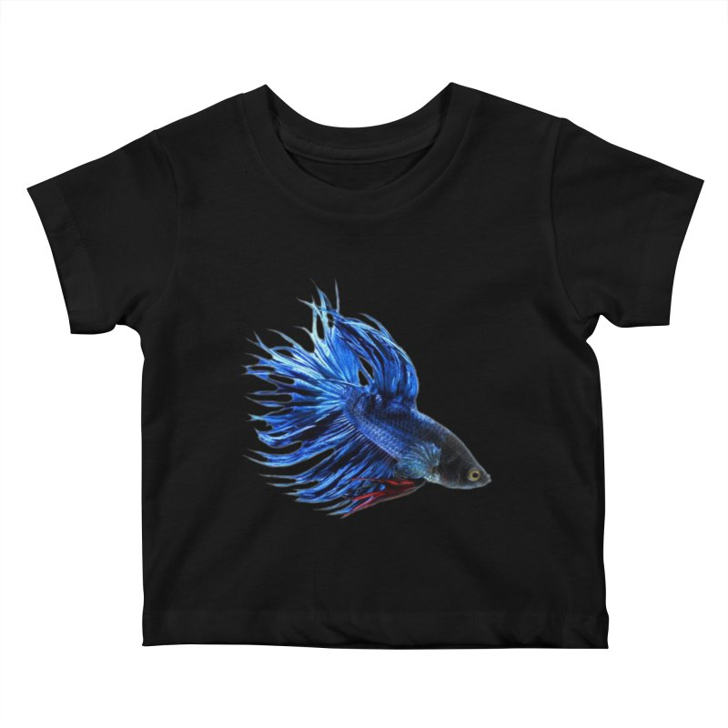 Royal Blue and Red Betta Fish Crowntail Male Swimming Beautiful Colors Kids Baby T-Shirt by Fringe Walkers Shirts n Prints