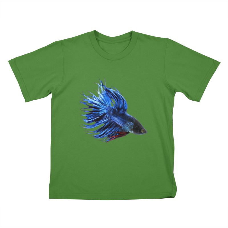 Royal Blue and Red Betta Fish Crowntail Male Swimming Beautiful Colors Kids T-Shirt by Fringe Walkers Shirts n Prints