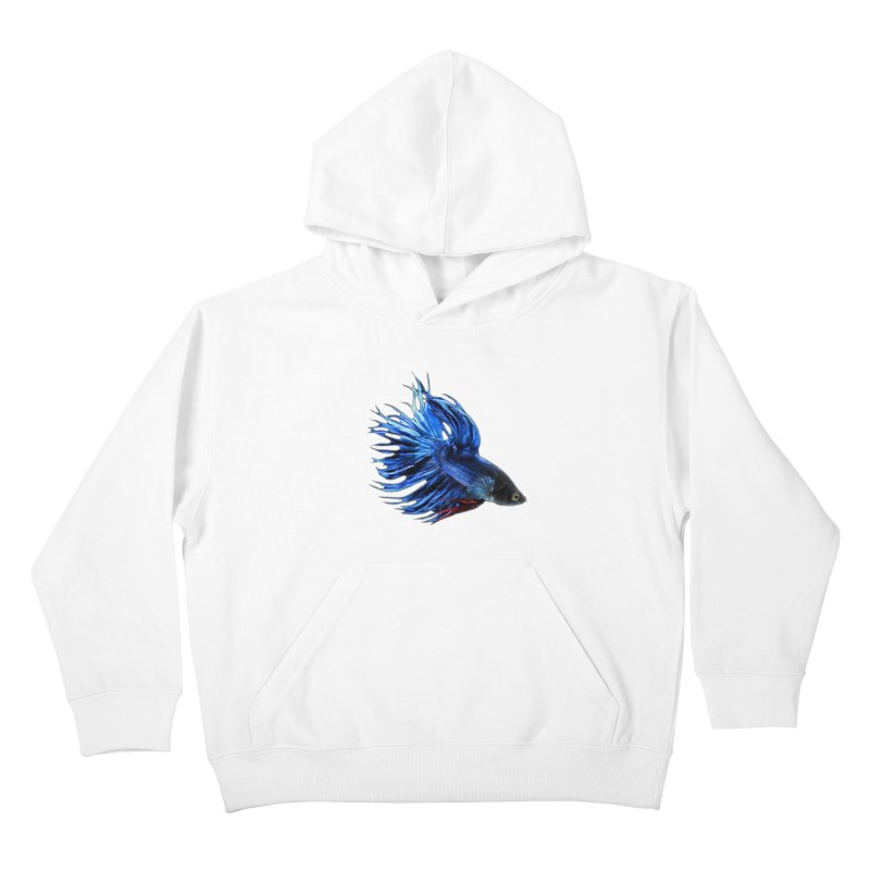 Royal Blue and Red Betta Fish Crowntail Male Swimming Beautiful Colors Kids Pullover Hoody by Fringe Walkers Shirts n Prints