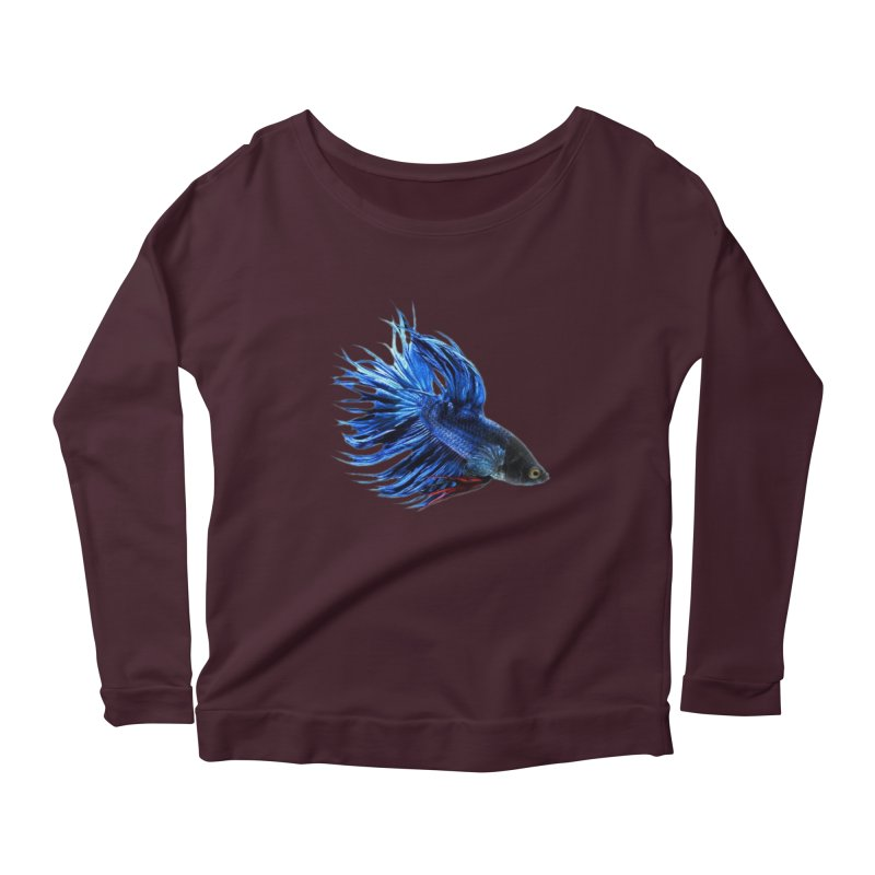 Royal Blue and Red Betta Fish Crowntail Male Swimming Beautiful Colors Women's Longsleeve T-Shirt by Fringe Walkers Shirts n Prints