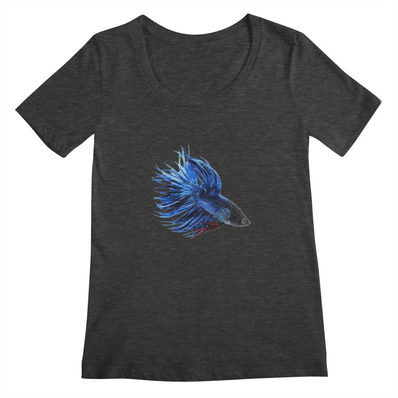 Royal Blue and Red Betta Fish Crowntail Male Swimming Beautiful Colors Women's Regular Scoop Neck by Fringe Walkers Shirts n Prints