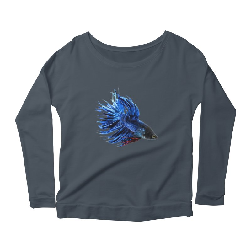 Royal Blue and Red Betta Fish Crowntail Male Swimming Beautiful Colors Women's Longsleeve Scoopneck  by Fringe Walkers Shirts n Prints