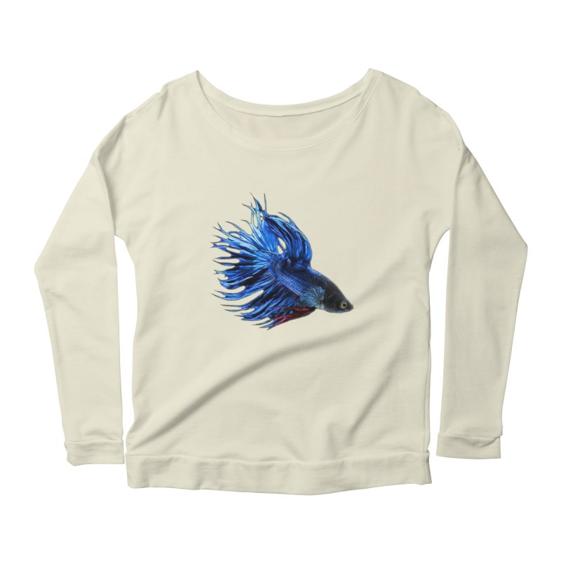 Royal Blue and Red Betta Fish Crowntail Male Swimming Beautiful Colors Women's Scoop Neck Longsleeve T-Shirt by Fringe Walkers Shirts n Prints