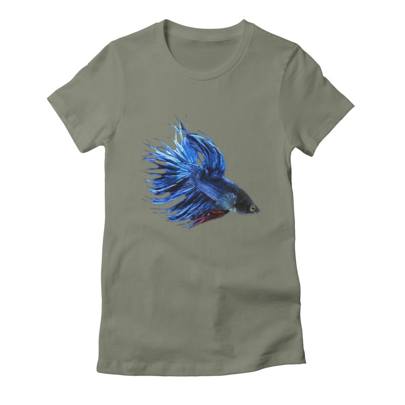Royal Blue and Red Betta Fish Crowntail Male Swimming Beautiful Colors Women's T-Shirt by Fringe Walkers Shirts n Prints