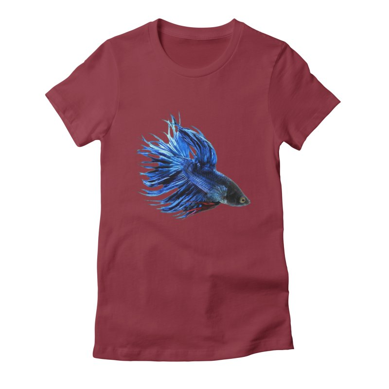 Royal Blue and Red Betta Fish Crowntail Male Swimming Beautiful Colors Women's Fitted T-Shirt by Fringe Walkers Shirts n Prints