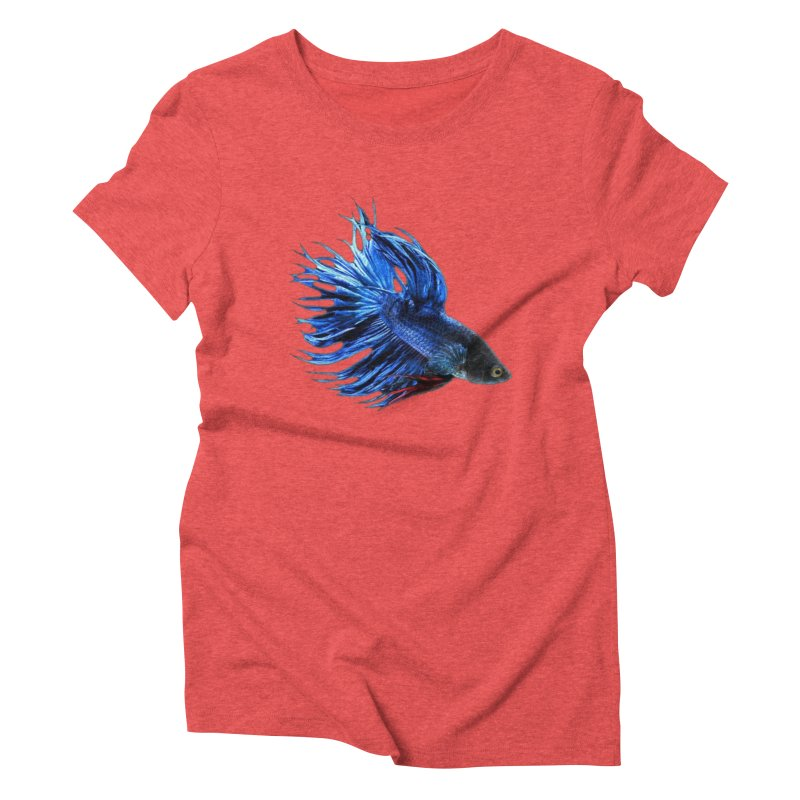 Royal Blue and Red Betta Fish Crowntail Male Swimming Beautiful Colors Women's Triblend T-Shirt by Fringe Walkers Shirts n Prints