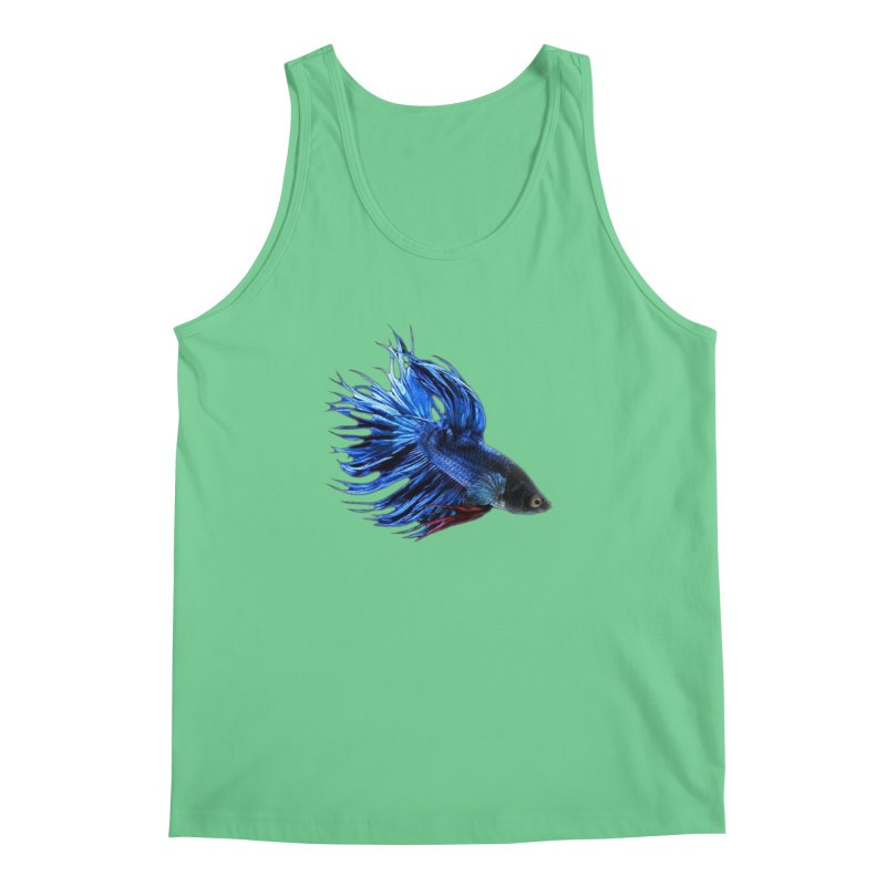 Royal Blue and Red Betta Fish Crowntail Male Swimming Beautiful Colors Men's Regular Tank by Fringe Walkers Shirts n Prints