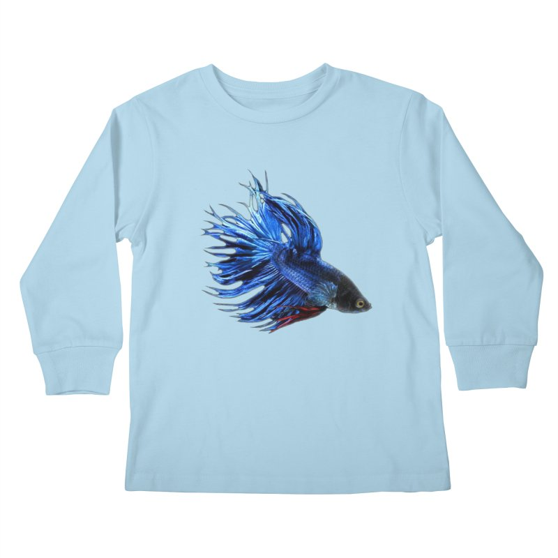 Royal Blue and Red Betta Fish Crowntail Male Swimming Beautiful Colors Kids Longsleeve T-Shirt by Fringe Walkers Shirts n Prints