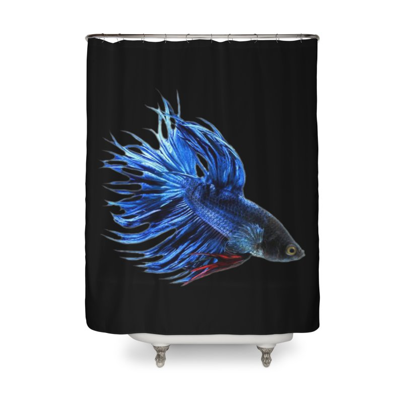 Royal Blue and Red Betta Fish Crowntail Male Swimming Beautiful Colors Home Shower Curtain by Fringe Walkers Shirts n Prints
