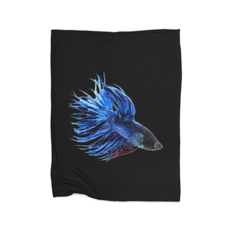 Royal Blue and Red Betta Fish Crowntail Male Swimming Beautiful Colors Home Fleece Blanket Blanket by Fringe Walkers Shirts n Prints