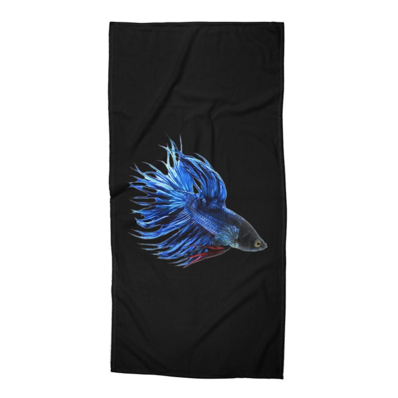 Royal Blue and Red Betta Fish Crowntail Male Swimming Beautiful Colors Accessories Beach Towel by Fringe Walkers Shirts n Prints