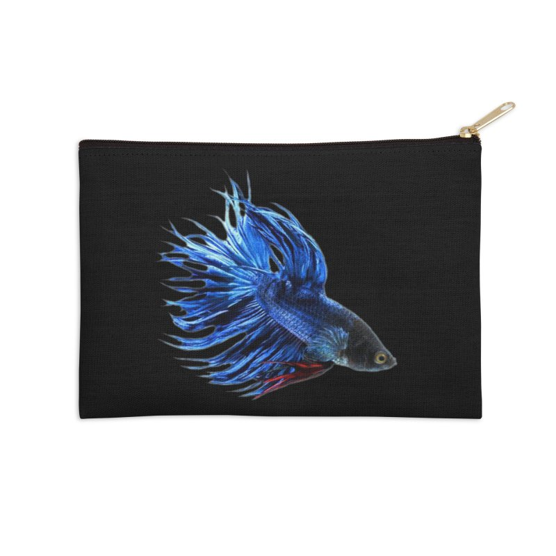 Royal Blue and Red Betta Fish Crowntail Male Swimming Beautiful Colors Accessories Zip Pouch by Fringe Walkers Shirts n Prints