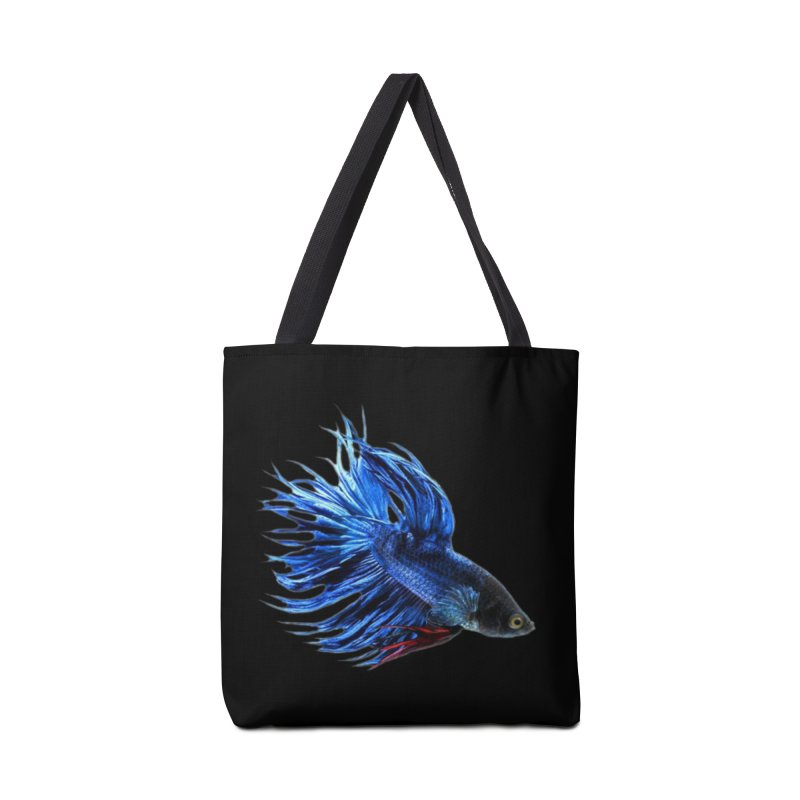 Royal Blue and Red Betta Fish Crowntail Male Swimming Beautiful Colors Accessories Tote Bag Bag by Fringe Walkers Shirts n Prints