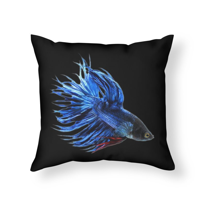 Royal Blue and Red Betta Fish Crowntail Male Swimming Beautiful Colors Home Throw Pillow by Fringe Walkers Shirts n Prints