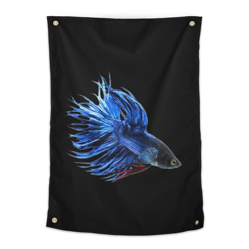 Royal Blue and Red Betta Fish Crowntail Male Swimming Beautiful Colors Home Tapestry by Fringe Walkers Shirts n Prints