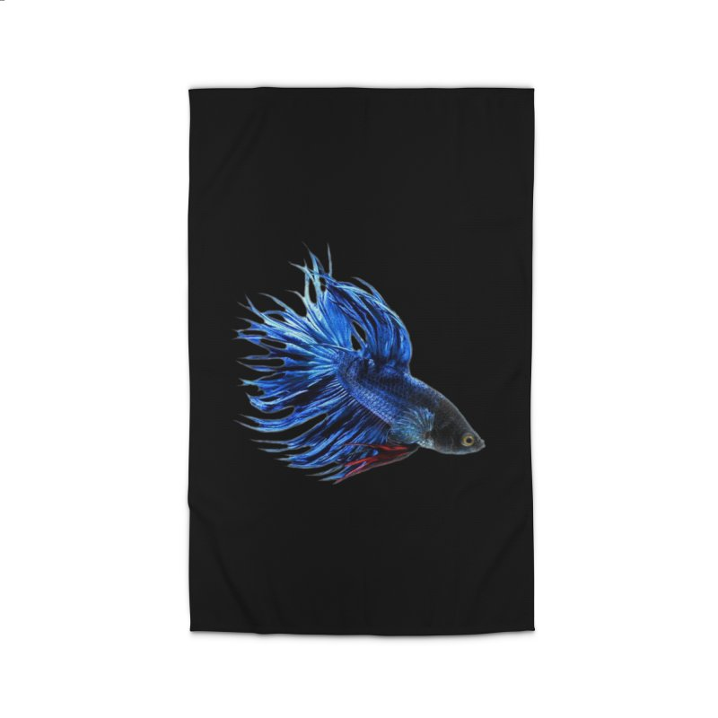 Royal Blue and Red Betta Fish Crowntail Male Swimming Beautiful Colors Home Rug by Fringe Walkers Shirts n Prints