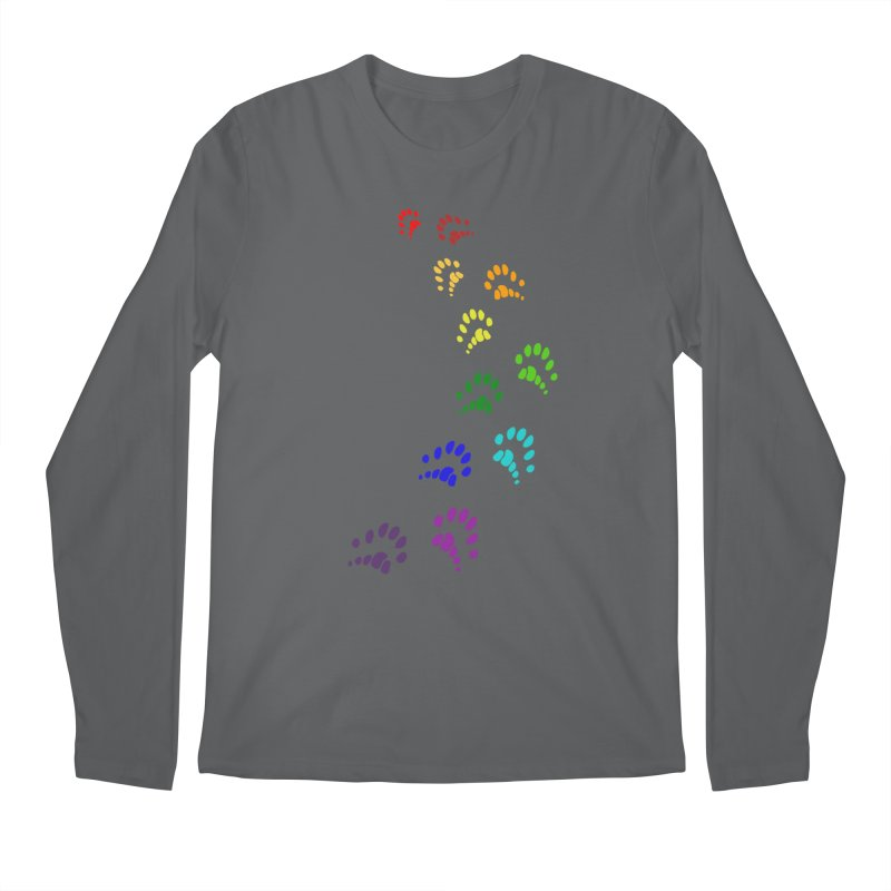 Polly Paws Rainbow Trail Polydactyl Cat Hemingway Paw Prints Multiple Six Toes Feline Pet Men's Longsleeve T-Shirt by Fringe Walkers Shirts n Prints