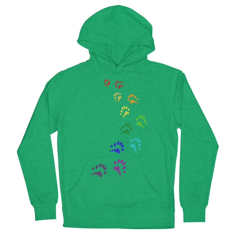 Polly Paws Rainbow Trail Polydactyl Cat Hemingway Paw Prints Multiple Six Toes Feline Pet Men's Pullover Hoody by Fringe Walkers Shirts n Prints