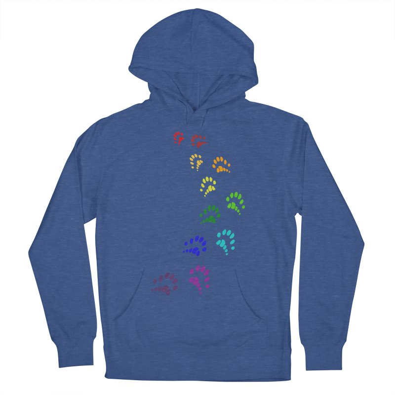 Polly Paws Rainbow Trail Polydactyl Cat Hemingway Paw Prints Multiple Six Toes Feline Pet Men's French Terry Pullover Hoody by Fringe Walkers Shirts n Prints