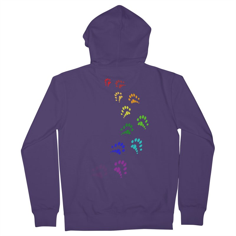 Polly Paws Rainbow Trail Polydactyl Cat Hemingway Paw Prints Multiple Six Toes Feline Pet Women's French Terry Zip-Up Hoody by Fringe Walkers Shirts n Prints
