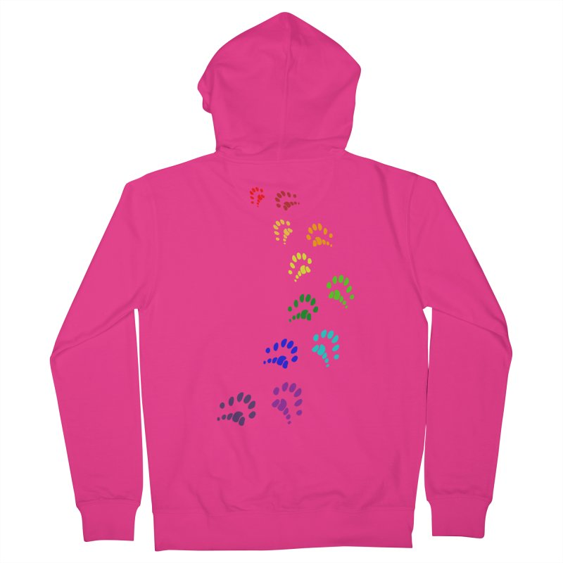 Polly Paws Rainbow Trail Polydactyl Cat Hemingway Paw Prints Multiple Six Toes Feline Pet Men's French Terry Zip-Up Hoody by Fringe Walkers Shirts n Prints
