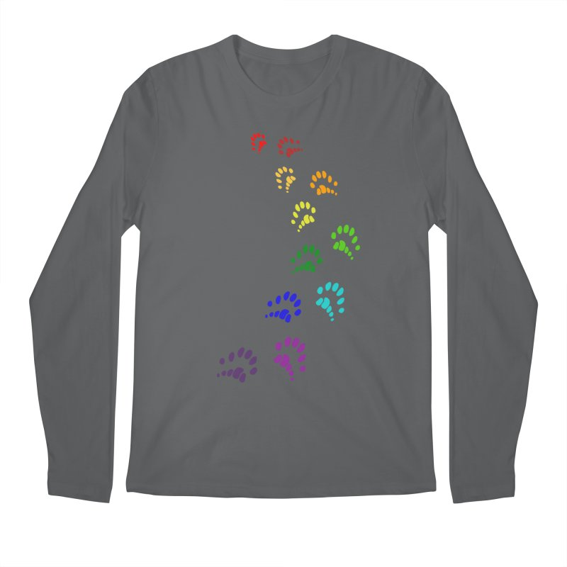 Polly Paws Rainbow Trail Polydactyl Cat Hemingway Paw Prints Multiple Six Toes Feline Pet Men's Regular Longsleeve T-Shirt by Fringe Walkers Shirts n Prints