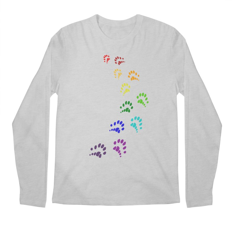 Polly Paws Rainbow Trail Polydactyl Cat Hemingway Paw Prints Multiple Six Toes Feline Pet Men's Longsleeve T-Shirt by Fringe Walkers Shirts n Prints