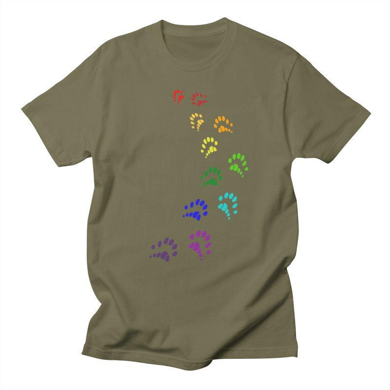 Polly Paws Rainbow Trail Polydactyl Cat Hemingway Paw Prints Multiple Six Toes Feline Pet Men's T-Shirt by Fringe Walkers Shirts n Prints