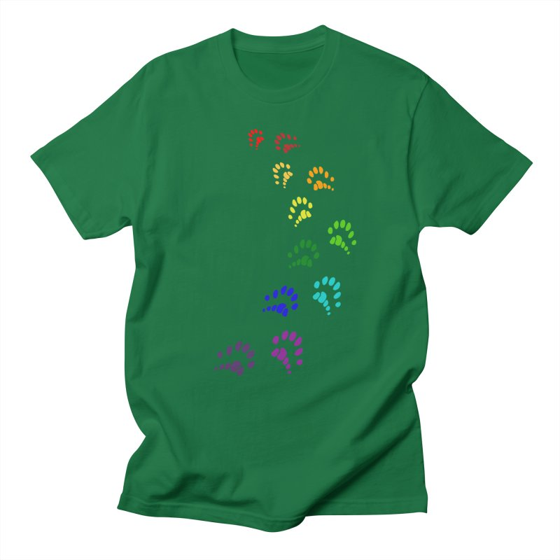 Polly Paws Rainbow Trail Polydactyl Cat Hemingway Paw Prints Multiple Six Toes Feline Pet Men's Regular T-Shirt by Fringe Walkers Shirts n Prints
