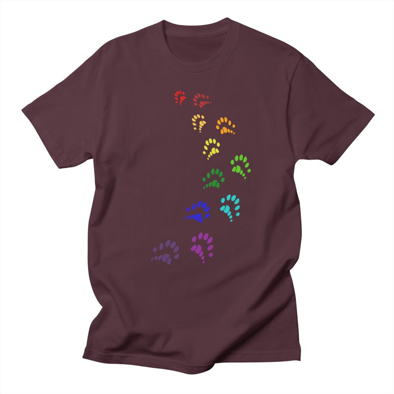 Polly Paws Rainbow Trail Polydactyl Cat Hemingway Paw Prints Multiple Six Toes Feline Pet Men's Regular T-Shirt by Fringe Walkers Shirts n Prints