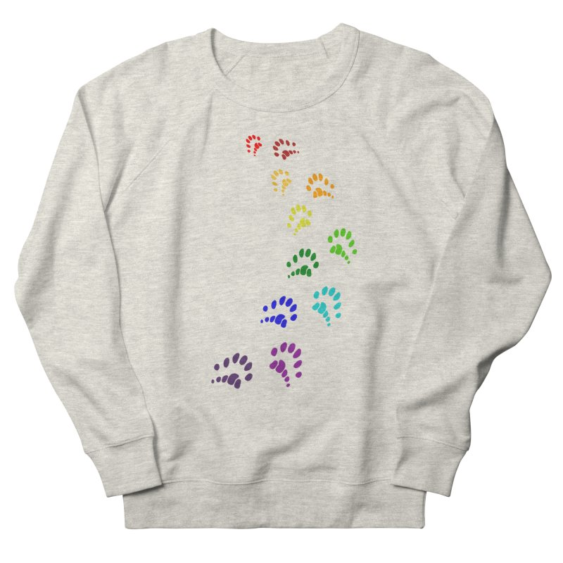 Polly Paws Rainbow Trail Polydactyl Cat Hemingway Paw Prints Multiple Six Toes Feline Pet Women's French Terry Sweatshirt by Fringe Walkers Shirts n Prints