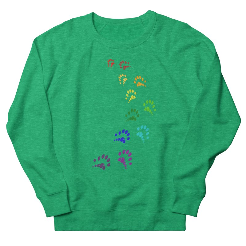 Polly Paws Rainbow Trail Polydactyl Cat Hemingway Paw Prints Multiple Six Toes Feline Pet Men's French Terry Sweatshirt by Fringe Walkers Shirts n Prints