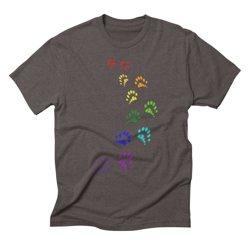 Polly Paws Rainbow Trail Polydactyl Cat Hemingway Paw Prints Multiple Six Toes Feline Pet Men's Triblend T-Shirt by Fringe Walkers Shirts n Prints